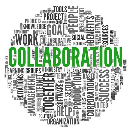 word clouds: Collaboration concept in word tag cloud isolated on white background