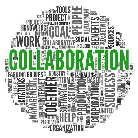 colaboracion: Concepto de colaboraci�n en la nube de palabra de la etiqueta aisladas sobre fondo blanco Foto de archivo