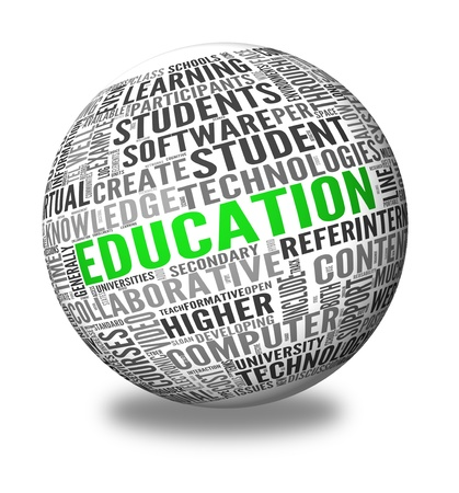 Education and learning concept words in tag cloud on 3d sphere photo