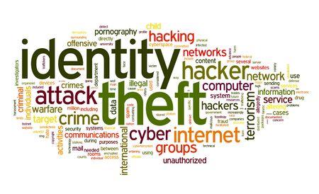 virus informatico: Concepto de robo de Identiry en la nube de palabra de la etiqueta aisladas sobre fondo blanco