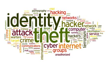 computer virus: Identiry theft concept in word tag cloud isolated on white background Stock Photo