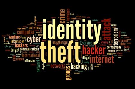 virus informatico: Concepto de robo de Identiry en la nube de palabra de la etiqueta aisladas sobre fondo negro