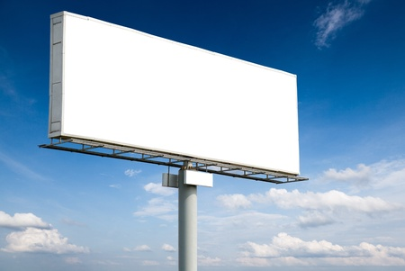 bill board: Blank billboard on blue sky for your advertisement Stock Photo