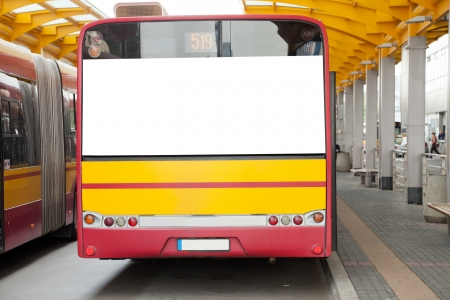 billboard posting: Blank billboard on back of a bus for your advertisement