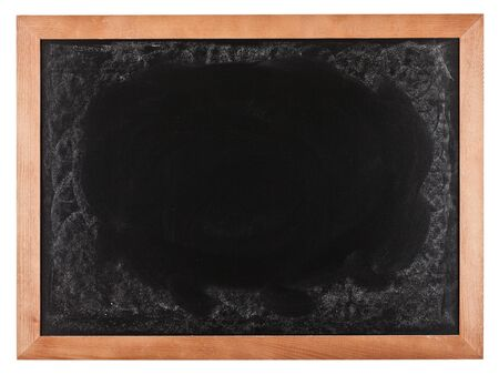 Background of blank blackboard in wooden frame isolated on white photo