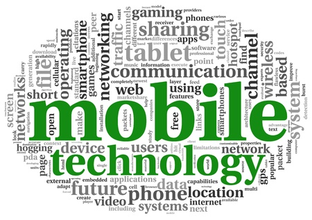 functionality: Mobile technology concept in tag cloud on white