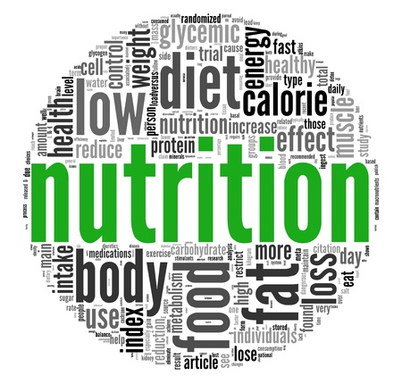 nutritional: Nutrition related words concept in tag cloud on white Stock Photo