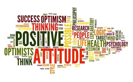 actitud positiva: Concepto de actitud positiva en la nube de palabra de la etiqueta en el fondo blanco Foto de archivo