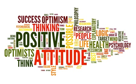 think positive: Positive attitude concept in word tag cloud on white background Stock Photo