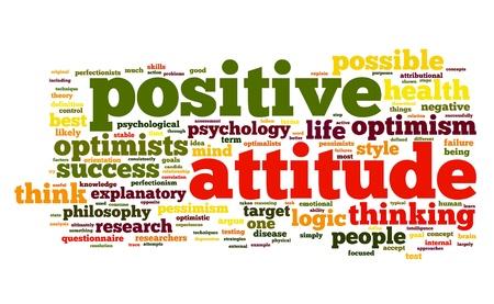 楽観: 単語タグクラウド白い背景の上で肯定的な態度の概念 写真素材