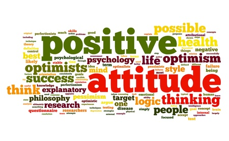optimism: Positive attitude concept in word tag cloud on white background Stock Photo