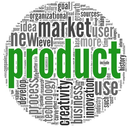 new product: Product and creativity concept related words in tag cloud on white