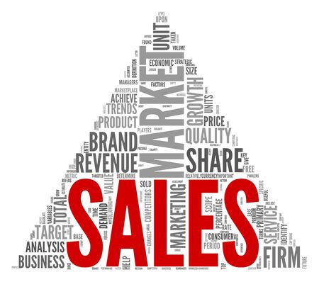 Sales and market concept in word tag cloud on white photo