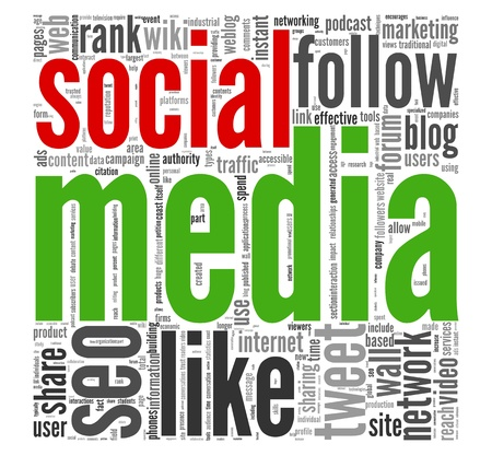 Social media concept in word tag cloud on white Stock Photo - 13638468