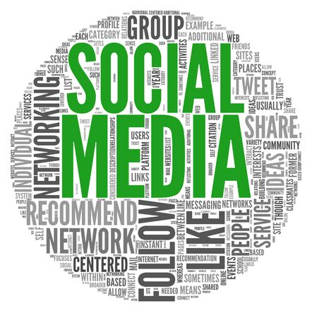 Social media concept in word tag cloud on white background photo