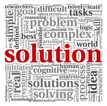 白い背景の上の単語タグクラウドでソリューションの概念