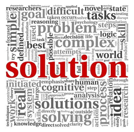 Solution concept in word tag cloud on white background photo