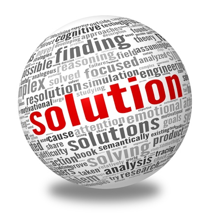resolve: Solution concept in word tag cloud on white background