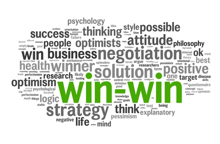 n�gocier: Concept de solution gagnant-gagnant dans les nuages ??mot �tiquette sur fond blanc