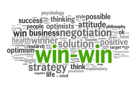 negotiation: Soluci�n ganar-ganar en el concepto de nube de palabra de la etiqueta en el fondo blanco