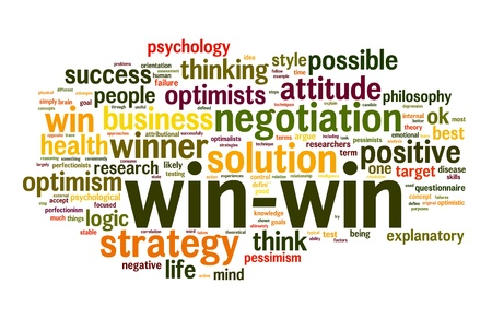 problem solving: Win-win solution concept in word tag cloud on white background