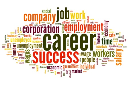 career job: Career related words concept in word tag cloud on white