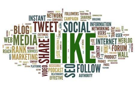 Like - social media concept in word tag cloud on white photo