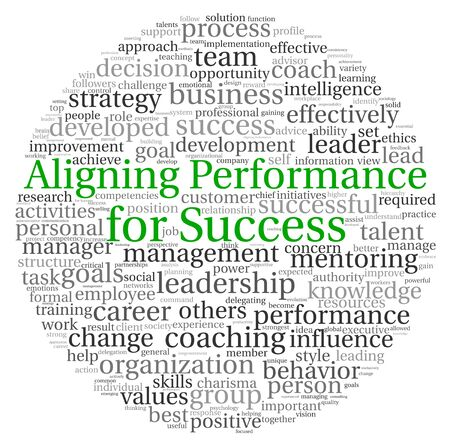 aligning: Aligning Performance for Success concept in word tag cloud on white background Stock Photo