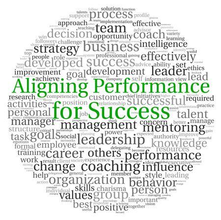 Het uitlijnen van prestaties voor succes concept in woord tag cloud op een witte achtergrond