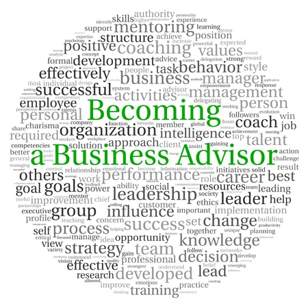 group goals: Becoming a Business Advisor concept in word tag cloud on white background Stock Photo