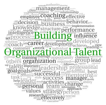 talents: Construire notion Talent d'organisation dans les nuages ??mot �tiquette sur fond blanc