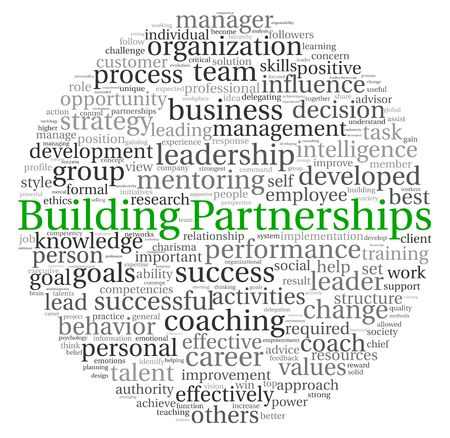 Building Partnerships concept in word tag cloud on white background photo