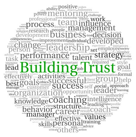 Delegation: Building Trust concept in word tag cloud on white background