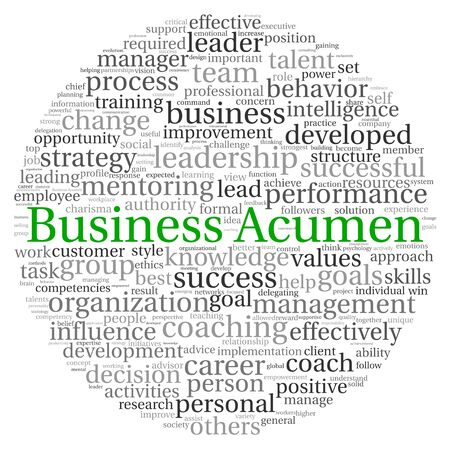 Delegation: Business Acumen concept in word tag cloud on white background Stock Photo
