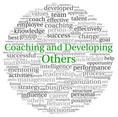 Coaching and Developing Others concept in word tag cloud on white background photo