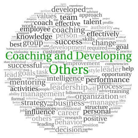 talents: Coaching et D�veloppement des autres concept nuage de tags mot sur fond blanc Banque d'images