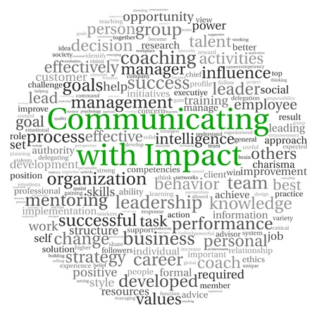 impacts: La comunicaci�n con el concepto de impacto en la nube de palabra de la etiqueta en el fondo blanco