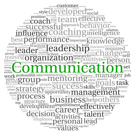 Communication concept in word tag cloud on white background photo