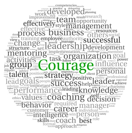 Courage concept in word tag cloud on white background photo