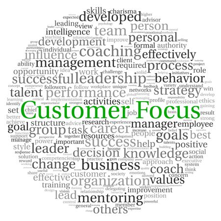 Customer Focus concept in word tag cloud on white background photo