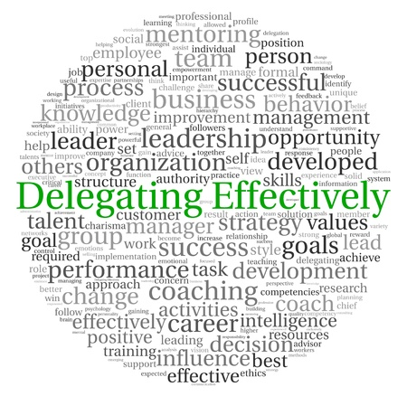 Delegation: Delegating effectively concept in word tag cloud on white background Stock Photo