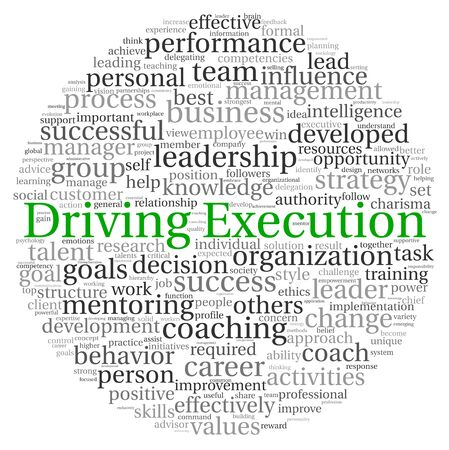 career coach: Driving Execution concept in word tag cloud on white background