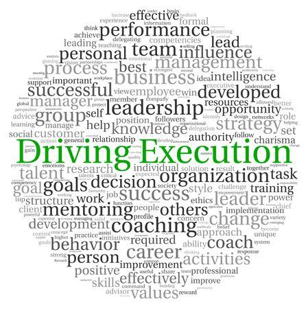 Driving Execution-Konzept in Wort tag cloud auf weißem Hintergrund Standard-Bild - 13764447