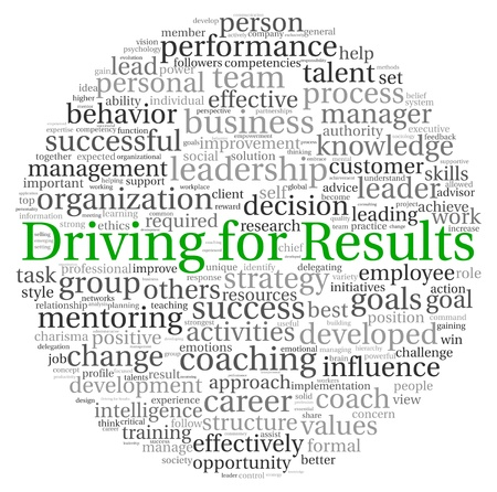 Driving for Results concept in word tag cloud on white background photo