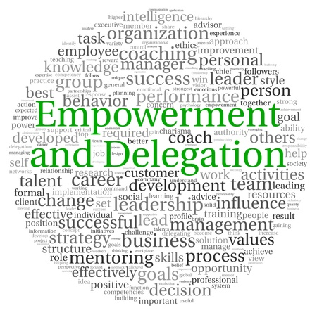 delegation: Empowerment and Delegation concept in word tag cloud on white background