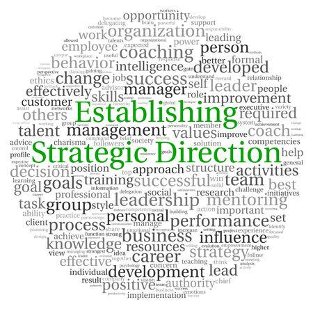 Aufbau strategischer Richtung Konzept in Wort tag cloud auf weißem Hintergrund Standard-Bild - 13764451