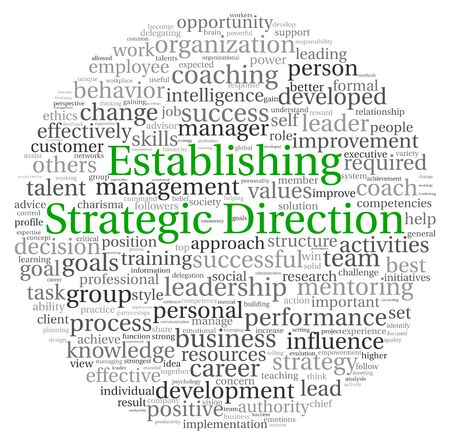 delegation: Establishing Strategic Direction concept in word tag cloud on white background Stock Photo