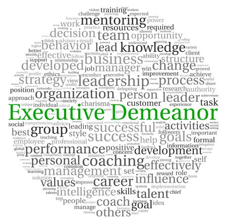 Executive Demeanor concept in word tag cloud on white background Stock Photo - 13764426