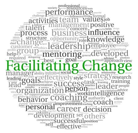 change concept: Facilitar el concepto de cambio en la nube de palabra de la etiqueta en el fondo blanco Foto de archivo