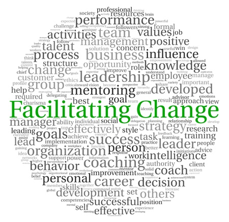 Facilitating Change concept in word tag cloud on white background photo